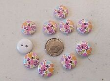"Lot of 10 HEARTS 2-hole Wooden Buttons 5/8"" (15mm) Scrapbook Doll (101)"