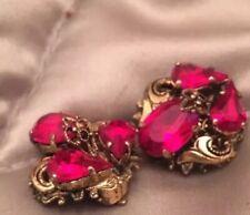Vibrant Red Crystal Clip Earrings Antique Art Deco Beautiful Bohemian Czech