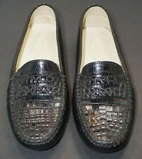 Beautiful J.P. Tod's glossy black alligator loafers Size 6.5 authentic