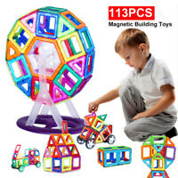113PCS Kids Magnetic Blocks Building Toys For Boys Girls Magnet Tiles Kits