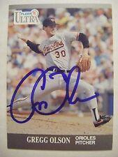 GREGG OLSON signed ORIOLES 1991 Fleer Ultra baseball card AUTO AUBURN TIGERS #21