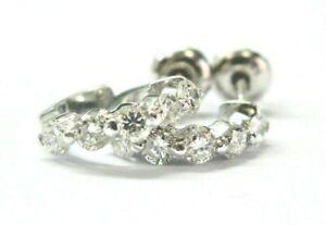 Diamond Hoop Earrings 14Kt White Gold Shared Prong 10-Stones .70Ct F-VS2 12mm