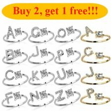 26 Capital Letters Cubic Zirconia Crystal Silver Gold Knuckle Rings Finger Women