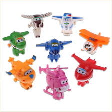 8 pcs Animation Super Wings Transforming Plane Toy Mini figure kid Cake Topper