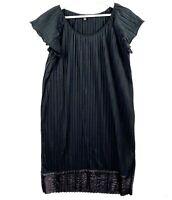 DECJUBA Women's Size Small Black Short Sleeve Pleated Knee Length Shift Dress