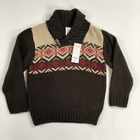 Gymboree Boys Brown Fair Isle Long Sleeve Sweater with Collar Size S (5-6) NWT