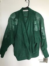 Leather Suede Jacket Vintage 80s 90s Semplice Sport Butterfly Sleeve Glam Disco