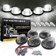 5pc Cab Clearance Light Marker Smoke Lens Cover + White LED for 69-87 GMC Chevy