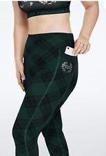 Victoria's Secret PINK Ultimate V Leggings Size Medium Dark Ivy Plaid Green