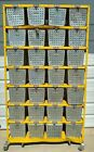 Vintage Metal Locker Basket Shelving Unit, 28 Wire Gym Baskets, Matching Numbers
