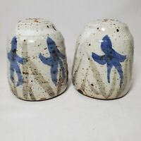 Artist Signed Salt & Pepper Shakers Blue Floral Violets Studio Pottery Stoneware