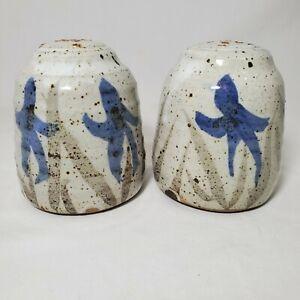 Artist Signed Salt & Pepper Shakers Blue Floral Violets Studio Pottery Stoneware