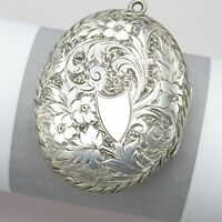 Antique Victorian Sterling Silver LARGE Flower Aesthetic Etched Locket Pendant