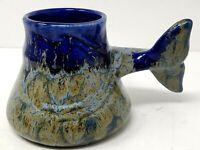 """DOUG WYLIE DRIP GLAZE ART BLUE POTTERY WHALE TAIL 4"""" COFFEE MUG"""