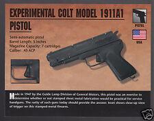 EXPERIMENTAL COLT MODEL 1911A1 PISTOL .45 ACP Gun Classic Firearms PHOTO CARD