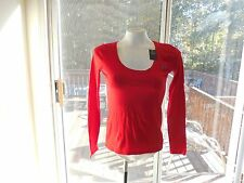 SIZE SMALL-HOLLISTER -  Women Red  Long Sleeve Cotton  Tops       SMALL