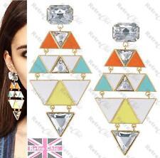 """RRP£15 4""""long Enamel Drop Chandelier Earrings GEOMETRIC triangle rhinestone"""