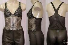 Shamah Lingerie Brown & Silver Camisole Pant Set Small