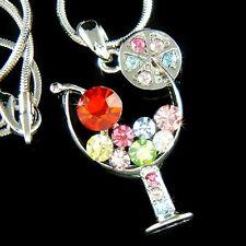w Swarovski Crystal Juicy CHERRY ~Rainbow MARGARITA GLASS Charm Pendant Necklace