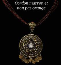 Collier Ethnique bronze, cordon, perle de rocaille strass marron Bijou fantaisie