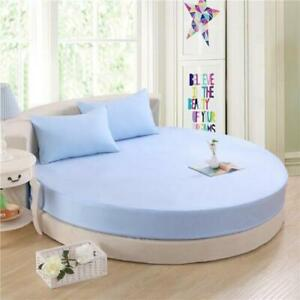 """Blue Solid Round Bedsheet Set 15"""" Deep Pocket All US Diameter Mattress"""