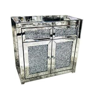 Luxury crushed diamond 2 drawer sideboard Mirror Crystal sparkle Contemporary UK