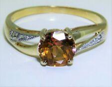 9CT GOLDEN MYSTIC TOPAZ DIAMOND  RING  9 CARAT GOLD Size R