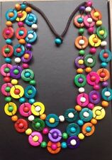 Boho / Lagenlook 70's Retro Style Wooden 3 Strand Rainbow Statement Necklace