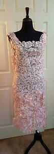 Gatsby Flapper Blush Pink 3D Embroidered Double Lace Sheath Midi Wedding Dress