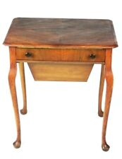 Vintage Queen Anne Style Walnut Sewing Table with Contents [5269]
