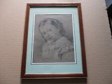 DESSIN ANCIEN MI 19EME 1849 OLD DRAWING SIGNE signed JEUNE FILLE YOUNG GIRL
