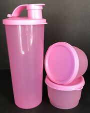 Tupperware 3 Piece Set 16 oz Flip Top Tumbler & 2 Snack Cups Combo Pink New