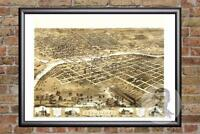 Vintage Des Moines, IA Map 1868 - Historic Iowa Art - Old Victorian Industrial