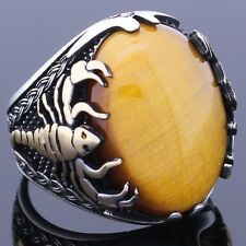 Solid 925 Sterling Silver Tiger Eye Stone Scorpion Figure Men Ring