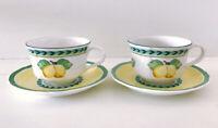 Villeroy & Boch French Garden Fleurence Set of 2 Tea Cups & 2 Saucers NEW