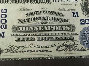 USA 5 Dollars National 1902 -- MINNEAPOLIS, MN  -- Charter #2006   - High Grade!