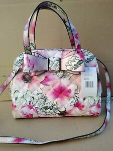 Betsey Johnson Dome Satchel Bag Purse w/ Bow Blush, Pink Floral, New, $98 MSRP