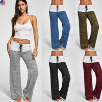 Women Ladies Yoga Sports Pants Soft Trouses Loose-Fitting Stitching Tie US Stock
