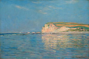Vintage painting art claude monet low tide pourville old poster canvas framed