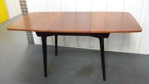Rare Vintage 1950s Beutility extendable ebony and teak table ,Milan model