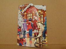 New Christmas Greeting Card Tri Fold Santa Workshop Toy Horse Glitter