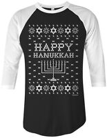 Threadrock Happy Hanukkah (Ugly Sweater)  Unisex Raglan T-shirt Jewish