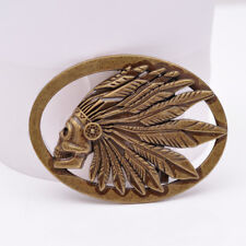 Retro Bronze Cowboy Indian Chief Head Western Indian Metal Fashion Belt Buckle