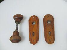 Vintage Wooden Door Handles Knobs Art Deco Architectural Antique Old Wood Plates