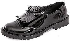 WOMENS LADIES GIRLS CHUNKY OXFORD VINTAGE STYLE TASSEL BROGUES LOAFERS SHOES 3-8