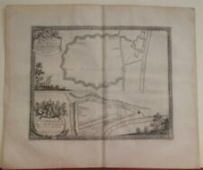 JELGAVA & DOBELE LATVIA 1696 PUFENDORF UNUSUAL ANTIQUE COPPER ENGRAVED CITY MAP