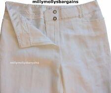 New Womens Marks & Spencer Per Una White Linen Trousers Size 12 Regular Leg 30