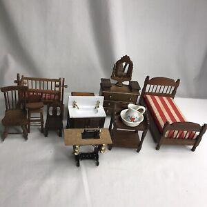 Mixed Lot of 12 Piece Vintage Doll House Furniture Wood Bedroom Bathroom Dresser