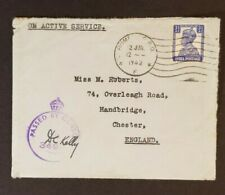 1942 Bombay India to Chester England Censorship On Active Service Sender Cover