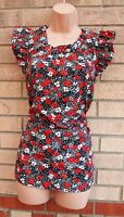 FLORENCE BLACK RED FLORAL SILKY FEEL WHITE  BLOUSE TOP T SHIRT TUNIC CAMI 14 L